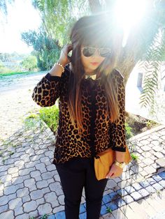 Leopard Blouse, Gold Collar, Ray Ban Aviators, Red Lipstick