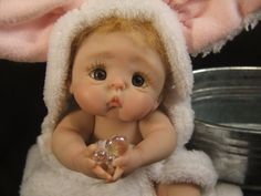 Made to Order  One Custom Hand Sculpted Ooak Polymer Clay Baby Art Doll Of your Choice with Gorgeous Layette