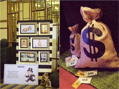 Harvey's Monopoly Themed Party – Entrance Area - Has a really great idea for decorating the ceiling.