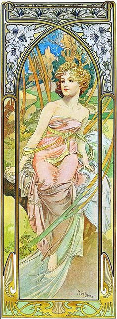 Alphonse Mucha. 1899 Morning Awakening. The Hours of the Day