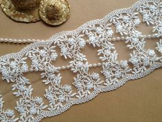 Beautiful Embroidered Lace Trim Off White Wedding by lacelindsay, $5.29