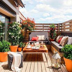 Outdoor Balcony, Backyard Patio, Outdoor Spaces, Outdoor Living, Outdoor Decor, Outdoor Patios, Wood Patio, Small Patio Furniture, Outdoor Furniture Sets