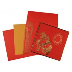 Give your wedding a special feel with our exclusive Red, Metallic-Gold-Silver-Copper, Matt paper, Shimmer Paper, Designer Wedding Cards - AD-1576