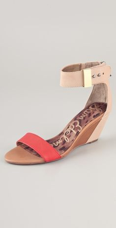 For the days when you want to give your feet a break, opt for these low wedge 'Sophie' sandals by Sam Edelman.  LOVE the pop of coral against the natural!