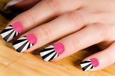 Pink with Zebra Lines Nail Art Design #prom nail art