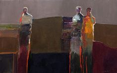 DAN MCCAW  THOUGHT AND EMOTION  oil on board  30 x 48 in  (76.2h x 121.92w cm)
