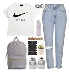 """""""lazy daisy"""" by deandelaina on Polyvore featuring Topshop, NIKE, Herschel Supply Co., adidas, Lana, Laura Mercier, OKA, H&M, women's clothing and women"""