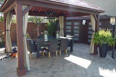 Maple Ontario Residential Concrete Pool, Waterfall, Deck & Backyard Environment traditional patio