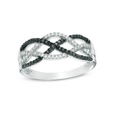 Zales 1/4 CT. T.w. Enhanced Black and White Diamond Loose Knot Ring in Sterling Silver - Size 7 9PhPIQ