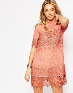 ASOS Washed Swing Dress with 3D Lace