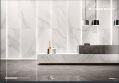 Tile Trends 2018 to look out for from the latest 2017 Cersaie Tile Fair - Italia Ceramics Lobby Reception, Reception Counter, Reception Design, Lobby Interior, Office Interior Design, Office Interiors, Feature Wall Design, Wall Decor Design, Office Lobby