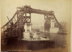 Pictures of Tower Bridge during construction found dumped in a skip. the photos reveal in incredible detail the ingenuity behind one of the capital's most popular tourist destinations, which was the first bridge of its kind in the world. Victorian London, Vintage London, Old London, Victorian History, London Pictures, London Photos, Old Pictures, Old Photos, Vintage Photos