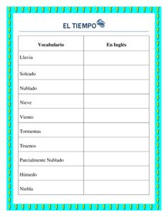 El Tiempo- Weather in Spanish- Vocabulary list and interactive package from La Señora H on TeachersNotebook.com -  (2 pages)  - This wonderful worksheet will allow you to introduce weather vocabulary to your students. Once students are familiar with the vocabulary you can bring to class weather forecasts