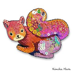 @kimikahara • Instagram写真と動画 Embroidery Designs, Embroidery Art, Squirrel, Dinosaur Stuffed Animal, Textiles, Instagram, Toys, Projects, Crafts