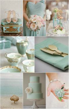 Aqua blue wedding color