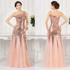 Cheap 2015 Sexy Sequins Bridesmaid Prom Party Dress Evening Long Masquerade Gown