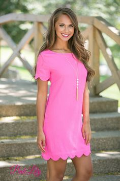 Romantic Revival Scalloped Dress Neon Pink - The Pink Lily Yes To The Dress, Dress Me Up, Pink Dress, Preppy Dresses, Casual Dresses, Summer Dresses, Summer Outfit, Unique Outfits, Trendy Outfits