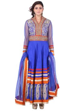 Blue Orange Ambi Raw Silk Long Suit #suits #shadesandyou.com