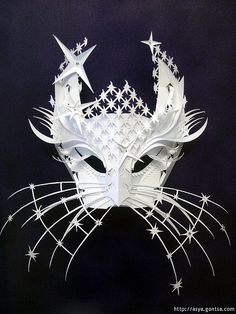 paper mask sculpture by Asya Gontsa via All Things Paper blog