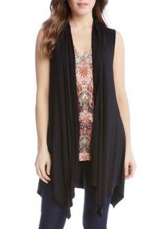 Karen Kane Women's Crochet Lace Back Vest - Black - Xl