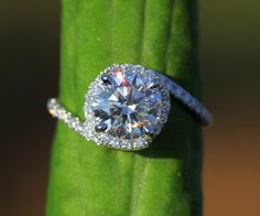 14k White gold  Diamond Engagement Ring  Halo  by BeautifulPetra, $4500.00