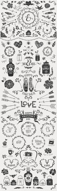Hand Drawn Romantic Decoration Pack by kite-kit on day wreath illustration Doodle Drawing, Doodle Art, Doodle Frames, Karten Diy, Doodles, Chalkboard Art, Chalk Art, Design Elements, Stencil