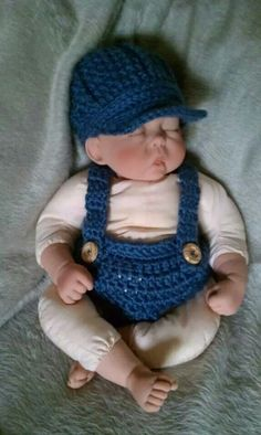 Newsboy hat, diaper cover with suspenders
