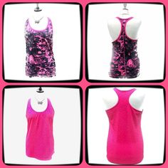 "Two BCG Racerback Tops Medium Two BCG Racerback Tops Size Medium. Both are 100% Polyester. Measurements laying flat: Black & Pink top: Bust 17.5"", Length 28"". Pink Top: Bust 18"", Length 28.5"". Machine Wash Cold. Mannequin is a 36-24-36.  NO TRADES OR LOWBALL OFFERS BCG Tops Tank Tops"
