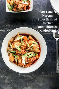 Slow Cooker Korean Spicy Braised Chicken and Potatoes (Dakdoritang) | MyKoreanKitchen.com