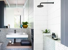 Architecture firm SJB have designed the modern renovation of a small house that draws inspiration from Japanese architecture and natural materials. Bathroom Layout, Modern Bathroom, Small Bathroom, Bathroom Ideas, Ensuite Bathrooms, Bathroom Renovations, Black Dining Set, Black Countertops, Small Vanity
