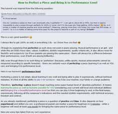 """Recommended tutorial of the day on PianoCareerAcademy.com: """"How to Perfect a Piece and Bring it to Performance Level"""" :D.  The continuation is available in the Members Area! :P  In this detailed article I share several important tips (taken from my own experience) that will help you to cover the last (and most difficult) 10% of the road that leads to mastering a piece and bringing it to a beautiful performance level B-)."""