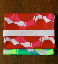 Set of two Tea Towels - Von - red & pink / teal and fluorescent yellow