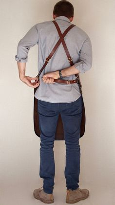 Blue&Grae Heavy Duty Leather Apron Baristas Apron by BlueandGrae