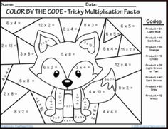Printables Multiplication Coloring Worksheets 4th Grade math color worksheets multiplication basic facts easter coloring pages math