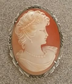 Sassy Mid Century Portrait Shell Cameo 925 Silver Marcasites Brooch Pendant