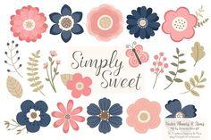 Navy & Blush Flowers Clipart by Amanda Ilkov on Simple Flower Design, Simple Flowers, Vector Flowers, Flower Clipart, Flower Patterns, Flower Designs, Pattern Flower, Blush Flowers, Paper Flowers