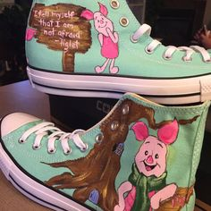 Custom Converse hand painted shoes inspired by Winnie The Pooh& Piglet! Diy Converse, Painted Converse, Converse Shoes, Shoes Heels, Custom Vans Shoes, Custom Converse, Customised Shoes, Hand Painted Shoes, Painted Clothes