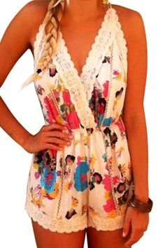 Floral with Lace Spaghetti Straps Romper