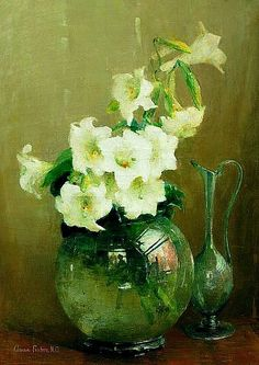 Anna S. Fisher  Lilies in a Glass Vase   Late 19th - early 20th century