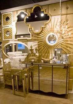 our collection of glamorous gold and white mirrors set on a backdrop of our Wall Pixels. Howard Elliott. High Point Spring 2016