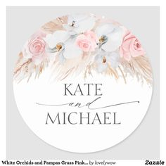 Tropical Napkins, Tropical Bridal Showers, Wedding Stickers, White Orchids, Pampas Grass, Floral Border, Wedding Stationary, Round Stickers, Wedding Tags
