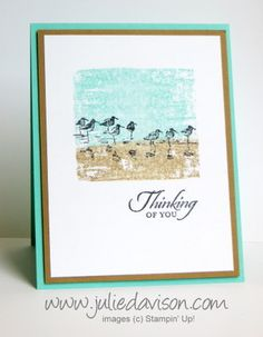 Video: Markers on Clear Block Background Technique with Morning Meadow stamp set #stampinup www.juliedavison.com