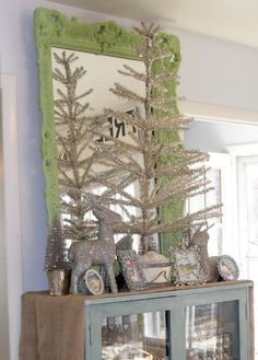 shabby french - love the green frame!