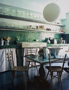 This is my back splash! This is such a peaceful looking room. Kitchen Interior, Interior Design Living Room, Kitchen Design, Interior And Exterior, Condo Kitchen, Kitchen Living, Kitchen Remodel, Kitchen Tile, Kitchen Workshop
