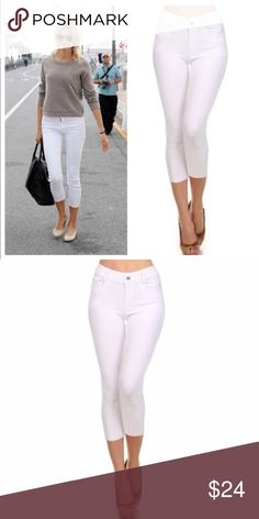 "White Skinny Capri Jeggings Basic 5 pocket Capri Jegging with non functional button& zipper closer  66% cotton, 27% poly, 5% spandex   Tags say large but fits an extra large very stretchy material.   L/XL Waist 39.75""/ hip 36""/ front rise 10.5""/ back rise 14"" Bchic Pants Capris"