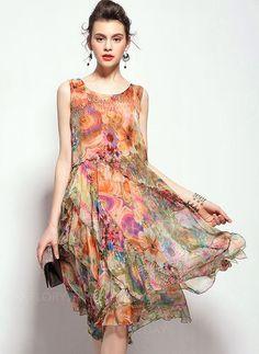 Dresses+-+$69.09+-+Silk+Floral+Sleeveless+Knee-Length+Vintage+Dresses+(1955096520)