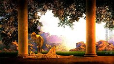 Giclee fine art print from Maxfield Parrish Daybreak painting, or or or or or or paper size with inch white border (the image is set inch within the exact paper size). Somerset Velvet paper and archival pigment inks. These are fine art prints, Art And Illustration, American Illustration, Ouvrages D'art, Maxfield Parrish, Goddess Art, Wow Art, Art Graphique, Fine Art, American Artists