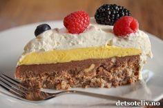 kaker for enhver smak Keto Recipes, Cake Recipes, Norwegian Food, Low Carb Keto, No Bake Desserts, Deserts, Food And Drink, Sweets, Snacks