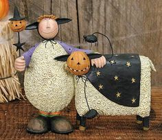Sheep Figurines | Child and Sheep Dressed up for Halloween Figurine