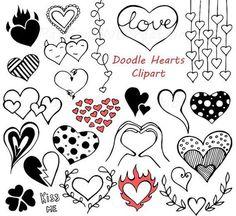 Doodle Hearts Clipart Heart clip art Digital hearts clip